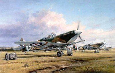 DHM2091.  Eagle Squadron Scramble by Robert Taylor. <p> An outstanding painting commemorating the intrepid 240 American air men who volunteered to fly with the R.A.F. in their early struggle against the Luftwaffe before the U.S.A. joined the war. Taylors painting vibrated with the roar of the Spitfires Merlin engines as they Scramble into action. Goodson later became a 4th Fighter Group Ace. <p><b>Last 15 prints available of this edition, now sold out at the publisher.</b><b><p>Signed by Colonel Jim Goodson. <p>Signed limited edition of 1500 prints.  <p>Paper size 25 inches x 20 inches (64cm x 51cm)