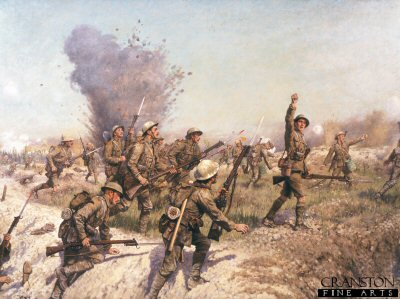 DHM210. Battle of the Somme, the Attack of the Ulster Division by J.P. Beadle. <p>A classic art print of the Ulster Division advancing into the German trenches during the Battle of the Somme. The officer shown leading the unit  is Lt Francis Bodenham Thornley. During the Battle of the Somme he was wounded while serving with  B company  Royal Irish Rifles and  while  recuperating he was given the job to advise J P Beadle on the painting.  In the painting the troops are shown with  the SMLE Rifle which is fitted with the No. 1 Mk 1 pattern Sword bayonet. Also shown in the painting is  a soldier carrying a Battalion marker, which is used to show the Battalions progress. The troops shown are of the  5th battalion Royal Irish Rifles  (North Belfast Volunteers)  a supporting unit to the 108th Infantry Brigade.<b><p> Open edition print. <p> Image size 23 inches x 17 inches (59cm x 43cm)