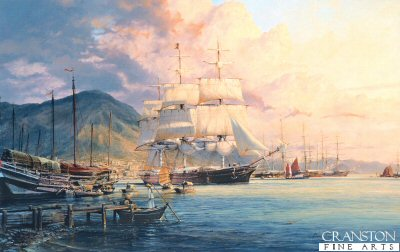 DHM2100.  Flying Cloud by Robert Taylor. <p> The American Clipper Flying Cloud arrives at Hong Kong in May 1860, 97 days out of London. En-route to Foochow, she will load tea for the return voyage. Of all the famous American Clippers Flying Cloud had by far the best record. <b><p>Signed limited edition of 950 prints. <p> Paper size 32.5 inches x 24 inches (82cm x 61cm)