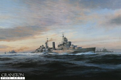 DHM2104.  HMS Belfast by Robert Taylor. <p> At the outbreak of World War II, H.M.S. Belfast had already joined the Home Fleet operating out of Scapa Flow. Patrolling north of the Faeroes in October 1939 she came across and captured the German liner Cap Norte. This success was short-lived, however, when she struck a mine, the explosion breaking her back. HMS Belfast  rejoined the Home Fleet in November 1942, under the command of Captain (later Admiral Sir Frederick) Parham, HMS Belfast was the largest and arguably the most powerful cruiser in the Royal Navy.  After repairs and modernisation she was the best-equipped cruiser afloat. Later she went on to play an important role in the Normandy Landings of June 1944. <b><p>Signed by Sir Frederick Parham (deceased). <p>Signed limited edition of 1000 prints. <p> Paper size 24 inches x 20 inches (61cm x 51cm)