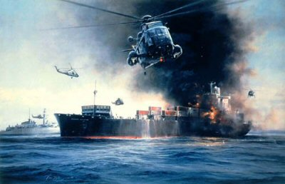DHM2108.  Sea King Rescue by Robert Taylor. <p> Piloting a Sea King helicopter of 820 Naval Air Squadron, Prince Andrew was first to lift off survivors after the Atlantic Conveyor was hit by an exocet missile. Robert Taylors fine painting depicts the Prince in the thick of the action.<b><p>Signed by Prince Andrews C.O. <a href=naval_crew_signatures.php?Signature=649>Ralf Wykes-Sneyd</a> <p> Signed limited edition 1500 prints.  <p>Paper size 27.5 inches x 20.5 inches (70cm x 52cm)