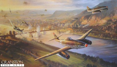 DHM2109.  Clash Over Remagen by Nicolas Trudgian. <p> When the American Army reached the Rhine at Remagen on March 7, 1945, such was the speed of their advance, they arrived before the retreating Germans had time to blow the vital bridge. The Americans seized the bridge intact. Realising the threat to the German defences, the Luftwaffe were ordered into destroy the bridge at all costs. Desperate efforts were made to attack the bridge, and over the course of the following days the fighting became one of the legendary battles of the war. Two RAF Tempests have flown right through the Luftwaffe formation of Me262 and Arado 234 jets bombers, the high speed aircraft missing each other by feet. The concentration of the desperate attackers is broken momentarily, sufficiently so that their bombs miss the target - but more Luftwaffe aircraft can be seen streaming into attack <b><p> Signed by Hauptmann Georg Csurusky, <br>Oberfeldwebel Rony Lauer <br>and <br>Oberfeldwebel Hermann Wieczorek, in addition to the artist. <p> Limited edition of 600 prints.  <p>Paper size 35 inches x 24 inches (89cm x 61cm)
