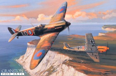 DHM2110. Combat Over Beachy Head by Nicolas Trudgian. <p> Mickey Mount, flying his 602 Squadron MkII Spitfire, successfully attacks a Messerschmitt Me109 low over the cliffs of Beachy Head on the south coast during the Battle of Britain in the summer of 1940. Spitfires and Me109s were so evenly matched at this early point in the war that the outcome of such contests were usually decided by the skill of the competing pilots. <b><p> Signed by Air Commodore Mickey Mount CBE DSO DFC (deceased). <p>  Signed limited edition of 800 prints.<p>  Paper size 16 inches x 14 inches (41cm x 36cm)