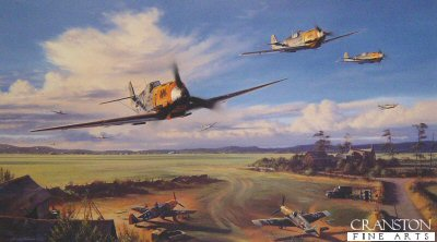 DHM2112. Dragons of Colombert by Nicolas Trudgian.  <p> In the summer of 1940, JG3, under the command of Hans von Hahn, scramble their Me109s from their French countryside base at Colombert, near Calais. With the deafening sound of their piston-engined aircraft, sporting the groups colourful Dragon emblem on their cowlings, they head for the battle front. <br><br><b>Published 2000.</b><p><b>Only 4 prints remain.</b><b><p> Signed by Oberstleutnant Gunther Scholz (deceased) and Oberstleutnant Erwin Leykauf (deceased), in addition to the artist. <p>  Signed limited edition of 500 prints. <p>Paper size 27 inches x 19 inches (69cm x 48cm)
