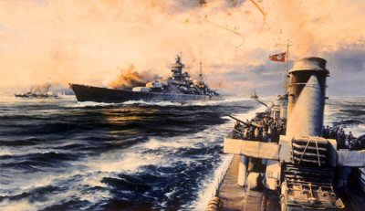 DHM2117.  Offshore Bombardment by Robert Taylor. <p> The Prinz Eugen, one of the finest and most famous ships in the German Navy, shelling Russian shore positions in Western Samland, the Baltic, January 1945 Earlier in the war The Prinz Eugen took part in the sinking of H.M.S. Hood and later the Channel Dash.<p><b>Sold out edition.  Only one secondary market print available.</b><b><p>Signed by Gunter Hielscher and Hans Henning von Schultz. <p> Signed limited edition of 1000 prints. <p> Image size 36 inches x 24 inches (91cm x 61cm)