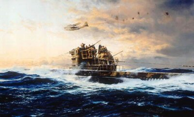 DHM2119.  Against All Odds by Robert Taylor. <p> Robert Taylors painting protrays the renowned defiance of the U-Boat crews. Caught on the surface by a PBY Catalina the gun crews of a type VIIc U-Boat are quickly into action. The 3.7cm anti-aircraft gun is hurriedly reloaded while on the upper platform the two 2cm anti-aircraft twins take chunks out of the Catalinas tail - enough damage to secure a respite from the attack. Soon they will dive to relative safety beneath the Atlantic swell. <p><b>Just one print remains of this edition - now sold out at the publisher.  Our print has damage to the border area, but this does not affect the image or the print once framed.</b><b><p>Signed by <a href=signatures.php?Signature=500>Kapitanleutnant Karl-August Landfermann (deceased)</a>, <br><a href=signatures.php?Signature=501>Oberbootsmannsmaat Rudolf Muhlbauer (deceased)</a>, <br><a href=signatures.php?Signature=502>Kapitanleutnant Heinrich Schroeteler (deceased)</a> <br>and <br><a href=signatures.php?Signature=503>Korveitenkapitan Helmut Witte (deceased)</a>. <p>  Signed limited edition of 450 prints (numbered 251 - 700 of 700) <p>Paper size 32 inches x 24 inches (81cm x 61cm)