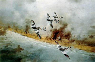 DHM2126.  Canadian Wing by Robert Taylor. <p> Spitfires of Johnsons Canadian Wing, complete with Normandy Invasion markings, making a sweep above the Normandy beaches on the 6th June, 1944 - D-Day. Johnson and his Canadian pilots flew sweeps on this day from dawn till dusk, limited most of the day to 2000 ft. by the cloudbase. <p><b>Last 15 prints of this edition which is now sold out at the publisher.</b><b><p>Signed by Air Vice Marshal Johnnie Johnson CB, CBE, DSO**, DFC* (deceased). <p> Signed limited edition of 1500 prints.  <p>Paper size 24 inches x 20 inches (61cm x 51cm)