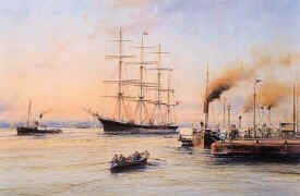 Barque Glenogil off Liverpool Pierhead, 1900 by Robert Taylor.