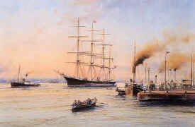 Barque Glenogil off Liverpool Pierhead, 1900 by Robert Taylor.