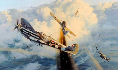 DHM2151.  Greycap Leader by Robert Taylor. <p> Leading 433 (Canadian) Squadron, top Allied Fighter Ace Johnnie Johnson -Greycap Leader - has already bagged an Fw190, and is hauling his MKIX Spitfire around looking for a second in heavy dog-fighting over the Rhine, September 1944. In the distance more enemy fighters appear, they too will receive the attention of the Canadians. <b><p>Signed by <br><a href=aircrew_signatures.php?Signature=573>Squadron Leader Danny Browne</a>, <br><a href=aircrew_signatures.php?Signature=574>Wing Commander J F Stocky Edwards</a>, <br><a href=aircrew_signatures.php?Signature=575>Squadron Leader Hartland Finlay (deceased)</a>,  <br><a href=aircrew_signatures.php?Signature=576>Wing Commander Hugh Godefroy</a>, <br><a href=aircrew_signatures.php?Signature=14>Air Vice Marshal Johnnie Johnson CB, CBE, DSO**, DFC* (deceased)</a>, <br><a href=aircrew_signatures.php?Signature=577>Lieutenant General Don Laubman</a>, <br><a href=aircrew_signatures.php?Signature=578>Wing Commander Andy Mackenzie (deceased)</a>, <br><a href=aircrew_signatures.php?Signature=579>Wing Commander Robert G Middlemiss</a>, <br><a href=aircrew_signatures.php?Signature=580>Flight Lieutenant Larry Robillard (deceased)</a> <br>and <br><a href=aircrew_signatures.php?Signature=581>Wing Commander Roderick Smith (deceased)</a>. <p>Signed limited edition of 850 prints.  <p>Paper size 33 inches x 24 inches (84cm x 61cm)