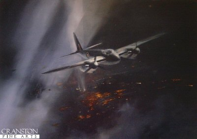 DHM2157.  Night Intruder by Robert Taylor. <p> A colourful painting depicting a Mosquito, the fastest Allied aircraft and perhaps the most versatile of all to fly in World War II, dodging between the flak and searchlights on a low-level night attack. <p><b>Last 40 copies of this sold out edition. </b><b><p>Signed by Group Captain John Cunningham CBE DSO DFC AE DL FRAeS (deceased). <p>Signed limited edition of 1500 prints.  <p>Paper size 20 inches x 14 inches (51cm x 36cm)