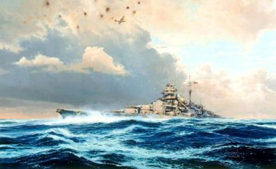 DHM2169AP.  Sighting the Bismarck by Robert Taylor. <p>In the early hours of May 24, 1941, as the mighty German battleships Bismarck and Prinz Eugen slipped through the Denmark Strait, they were dramatically intercepted by the Royal Navy battleships Hood and Prince of Wales. Within six minutes of the first salvo being fired, the Hood, pride of the Royal Navy, was blown out of the water in one of the most gigantic explosions ever witnessed at sea.  Bismarcks fourth salvo landed a shell forward of the Hoods after turrets, piercing her deck, exploding the 4-inch magazine. Simultaneously this detonated the adjacent 15-inch magazine, and in one mighty eruption the battleship broke in two. Within seconds she was gone. Of the ships company of 1400 officers and sailors only three survived.  Outraged at the grievous loss Winston Churchill signaled the Admiralty just three words: Sink the Bismarck! Thus began one of the epic sea chases in the history of naval warfare.  Damaged by shells from the Prince of Wales 14-inch guns and losing fuel oil, Admiral Lutjens broke off the engagement and steamed Bismarck towards the anonymity of the North Atlantic.  Evading the British warships for 32 hours he had hopes of reaching the safety of Brest, but when spotted by a Catalina of RAF Coastal Command, Lutjens knew it was the beginning of the end for the mighty German warship.  When an attack by Ark Royals Swordfish torpedo planes jammed her rudder Bismarcks fate was sealed. As she limped haphazardly through the waves trailing oil, the Home Fleet closed in for the final encounter.  Overwhelmed by British guns and torpedoes, Bismarcks crew fought a gallant last battle, but the odds were too great. Watching Bismarcks final moments from King George Vs bridge, Admiral Tovey said: She put up a noble fight against impossible odds, worthy of the old days of the Imperial German Navy.<p><b>Last print available of this edition - now sold out at the publisher.</b><b><p>Signed by <a href=signatures.