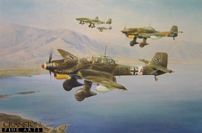 DHM2173AP.  Stuka by Robert Taylor. <p> The Stuka when dressed for war was an awesome spectacle. Robert Taylors outstanding painting shows a formation of JU87s bombed up and fitted with long range tanks heading out on a shipping strike over the Mediterranean in 1941. Following its success in the Polish and French Blitzkrieg campaigns, the Stuka was seen by the German High Command as the supreme new weapon to succeed long range artillery. With its banshee-like wailing siren the Stuka pilots would deliver destruction from the skies and create a devastating psychological effect upon all those below. <p><b> Only one copy available.</b><b><p> Signed by Oberst Kurt Kuhlmey (deceased), Hans-Karl Stepp, <br>Major Franz Kieslich (deceased) <br>and <br>Oberleutnant Helmut Fickel (deceased).  <p> Limited edition of artist proofs.  <p>Paper size 34 inches x 24 inches (86cm x 61cm)