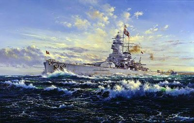 DHM2184.  The Graf Spee by Simon Atack.  <p> The pocket-battleship Graf Spee catches the flood tide, making speed through a choppy cross-current as she leaves the German naval port of Wilhelmshaven for final trials a few weeks before the outbreak of war on 3rd September, 1939. Under her Captain, Hans Langsdorf, she will soon be on station in the South Atlantic in readiness for action against merchant shipping, vital to the survival of island Britain. <b><p> Signed limited edition of 500 prints. <p> Image size 16 inches x 25 inches (41cm x 64cm)