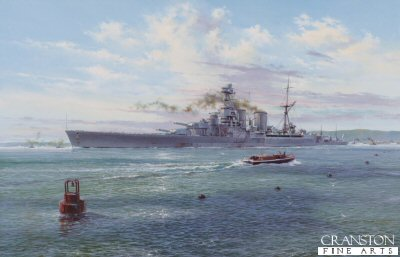 DHM2185. Farewell the Hood by Simon Atack. <p> HMS Hood, Britains largest warship and pride of the Royal Navy, steams majestically through the Swept Channel on 22 May, 1941. Having fuelled at the Scapa Flow naval base in Scotland, she steers clear of floats suspending torpedo and submarine nets, as she heads for open water and the North Sea. The crew of a naval cutter wave farewell as the mighty battleship departs upon what will prove to be her final voyage. <p><b>Less than 15 copies now available.<b><p> Signed by Lieutenant Ted Briggs RN (deceased) <p> Signed limited edition of 500 prints.  <p>Image size 16 inches x 25 inches (41cm x 64cm)