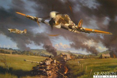 DHM2199.  Typhoon Country by Nicolas Trudgian. <p>A Typhoon of 181 Squadron flown by Flt Lt Roy Crane is shown attacking a German armoured column in th Falaise Gap in August 1944.  Typhoons played a major role in destroying a large number of German armour and disrupting German movements during the battle of Falaise Gap.<p><b>Less than 25 copies available of this sold out edition.</b><b><p>Signed by Flight Lieutenant Roy Crane. <p> Signed limited edition of 500 prints. <p> Paper size 18 inches x 13 inches (46cm x 33cm)