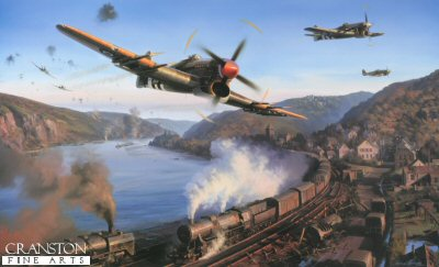 DHM2200. Typhoons Over the Rhine by Nicolas Trudgian.  <p> Flying low level at high speed through intense ground fire was all part of the daily task of the pilots of the Typhoon ground attack squadrons. Armed with rockets, 1000lb bombs and four 20mm cannon, this formidable fighter played a leading role in the Allied advance through occupied Europe. Leading up to, and following the Normandy landings through to the end of hostilities, the Typhoon, flown by determined hard hitting pilots, became the scourge of the German Panzer Divisions, and wrought havoc with enemy road and rail communications. Targets along the Rhine, over one of Germanys arteries of supply and communication and last line of defence, were given special attention by the Typhoon squadrons. Barges carrying vital supplies, munition trains on railroads hugging the river bank, and the ever present movement of troops and armour toward the battlefront were constantly attacked from the air. Led by Squadron Leader B. G. Stapme Stapleton, Mk1B Typhoons of 247 Squadron, 2nd Tactical Air Force, based at Eindhoven in Holland, make a low-level attack on enemy river transport on the Rhine in November 1944. Twisting and turning to avoid ground fires as best they can, the Typhoon pilots power their way through the valley with cannons blazing, pressing home their attack by strafing every German military target in their path. The supply cargo aboard the freight train is unlikely to reach its destination today! <br><br><b>Published 1999.</b><p><b>Less than 25 copies available of this sold out edition.</b><br>Sold without companion print <i>Typhoon Country</i><b><p> Signed by <a href=signatures.php?Signature=116>Air Commodore C D Kit North-Lewis (deceased)</a> and <a href=signatures.php?Signature=114>Squadron Leader Basil Stapleton DFC (deceased)</a>, in addition to the artist. <p> Signed limited edition of 500 prints. <p> Image size 26 inches x 16 inches (66cm x 41cm)