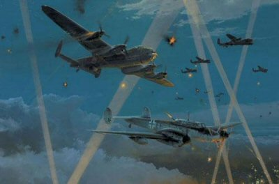 DHM2218.  Duel in the Dark by Robert Taylor. <p> The air war fought throughout World War II in the night skies above Europe raged six long years. RAF Hurricanes sent up to intercept the Luftwaffes nightly blitz on British cities had no more equipment than the fighters that fought the Battle of Britain during the day, but as the scale of nightly conflict developed, detection and navigation aids - primitive by todays standards - were at the cutting edge of World War II aviation technology. As the air war progressed the intensity of the RAFs nightly raids grew to epic proportions, and the Luftwaffe night-fighters became a critical last line of defence as their cities were pounded from above. By 1944 the Luftwaffe was operating sophisticated systems coordinating radar, searchlights and flak batteries, enabling effective guidance to increasingly wily aircrews flying equipment-laden aircraft. But the RAF had in turn developed their own detection equipment, and the nightly aerial contests between fighters and bombers were desperate affairs. Night-fighter pilots were men of special calibre, requiring a blend of all the best piloting and navigational qualities combined with patience, determination, and no small element of cunning. They were hunters in the purest sense, constantly honing their skills, and pitting their wits against a formidable foe. The young aircrews of the Luftwaffe fought a brave but losing battle in defence of their homeland, but their dedication never faltered, and their bravery is legend. Robert Taylor pays tribute to this courageous and skilled group of flyers with his new painting Duel in the Dark. It is August 1944. As Lancaster heavy bombers of 106 Squadron approach the target, Major Heinz-Wolfgang Schnaufer, Kommandeur of IV./ NJG1 and the Luftwaffes top-scoring night- fighter pilot, makes a daring attack passing feet below the mighty four-engine aircraft. Flying his Me110 night-fighter among the flak and searchlights he has scored hits on the bomb