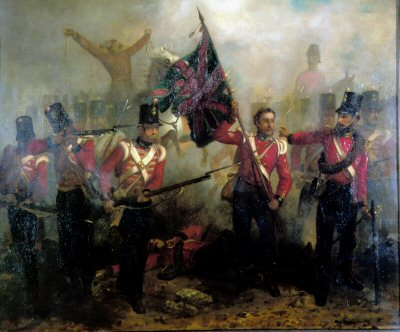 DHM224.  Sergeant Luke OConner Winning the Victoria Cross at the Battle of Alma by L.W. Desanges. <p>Although shot in the breast, bravely carries forward one of the colours at the Battle of Alma, 20th September 1854. <b><p> Open edition print. <p> Image size 23 inches x 17 inches (58cm x 43cm)