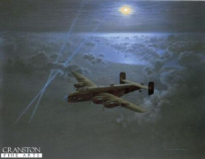 DHM2250.  Leading the Way by Gerald Coulson. <p>On August 15th 1942, under the leadership of Don Bennet, a new group was formed from Bomber Command to develop specialised target finding and target  marking. Made up purely from experienced volunteers, this elite and highly trained group of men were known as the Pathfinders. Up until this point the means available to Bomber Command of accurately finding their targets were totally lacking and the task of the Pathfinders was to develop techniques to precisely define these targets ahead of the main force.  Initially made up of four Squadrons  Nos. 7 (Stirlings) 35 (Halifax) 83 (Lancaster) and 156 (Wellingtons)  they were based at a clutch of airfields between Cambridge and Huntingdon. Originally part of No.3 Group Bomber Command the Pathfinder Force was directly answerable to C-in-C Air Marshal Arthur Harris until January 1943 when it became a separate group, No.8 (PFF)  .  Personally selected for the task by Arthur Harris, the Australian born Don Bennet, just 32 years of age proved to be and inspired choice to form the Pathfinders. A navigation expert without peers he was widely experienced in flying all types of aircraft including fighters, flying boats and bombers and already an experienced operational bomber captain. Along with many of his colleagues, such as Hamish Mahaddie and John Searby he was responsible for instilling in his men the Pathfinder Spirit - an intangible quality of dedication which bonded them together.  Pathfinder crews used a combination of personal skill and technical equipment to locate their targets. Often flying against overwhelming odds and in appalling conditions they transformed the performance of a bomber force that in 1941 was dropping almost half its bombs on open countryside.  The first Pathfinder unit to fly the Halifax was 35 Squadron based at Graveley. With some of the greatest Bomber Aircrew amongst their number the unit quickly gained a reputation for excellence that was second to none.  This superb painting from one of the worlds most highly regarded Aviation Artists, Gerald Coulson, depicts a Halifax B.MkII series 1A of 35 (PFF) Squadron on an operation over occupied Europe. Flying at around 20,000 feet and completely alone and unprotected, the crew navigate their bomber well ahead of the main force, leading the way to their target.  <b><p>Signed by Flight Lieutenant John Rollins DFC AFC (deceased), <br>Warrant Officer Ernest Kenwright DFC DFM <br>and <br>Squadron Leader Pat Carden DFC AE (deceased). <p>Signed limited edition of 500 prints. <p> Image size 31 inches x 26 inches (79cm x 66cm)