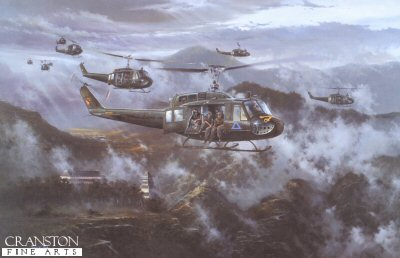 DHM2268B.  Ride of the Valkyries by Simon Atack . <p> No aircraft came to symbolize the war in Vietnam more than the Bell UH-1 Iroquois, better known to the men who flew, and fought from this aircraft - and to those who were to owe it their survival, by just one never to be forgotten name - the Huey.  Ideally suited to the terrain of South Vietnam - formidable mountain peaks, dense jungle, almost every other acre of land under water, and the fact that large tracts of the countryside were controlled by the Vietcong and impassable, the Huey became one of the US Armys most effective weapons of the war.  With the ability to carry eight fully equipped troops, the Huey was also ideal for use as Medevac flying ambulances, which were to create their own legend.  By the end of the conflict the Hueys had notched up a staggering 34 million combat sorties flown!  In July 1965 the 1st Air Cavalry, equipped with 500 Hueys arrived in South Vietnam to begin what became the longest tour of duty in American combat history.  Under the command of the flamboyant Colonel John Stockton, the 1st Air Cavalry went on the immediate offensive, swiftly creating a devastating impact on the enemy, bringing them to battle wherever they could be found. <p><b>Last 3 available of this sold out edition. </b><b><p>Signed by  Captain Richard Buzen and Chief Warrant Officer Michael J. Novosel Moh (deceased). <p> Medal of Honor Edition of 400 prints. <p> Image size 16 inches x 24.75 inches (41cm x 64cm)