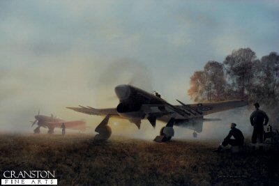 DHM2276.  Normandy Sunrise by Gerald Coulson. <p>Here, in the brightening morning sky, Typhoons are prepared for the first sortie of the day. One has already fired up its big, powerful engine, blowing up whirlwinds of Normandy dust, ground crew hover, ready to remove chocks prior to taxi and take-off. A second is readied, while the remainder of the squadron, widely dispersed around the temporary field, are about to set about their deadly missions of the day.<b><p>Signed by <a href=signatures.php?Signature=129>Flight Lieutenant James Kyle DFM</a>, <br><a href=signatures.php?Signature=130>Warrant Officer Douglas Oram</a> <br>and <br><a href=signatures.php?Signature=131>Flying Officer Frank Wheeler DFC (deceased)</a>. <p>Limited edition of 300 prints, with three signatures.  <p>Image size 27 inches x 21 inches (69cm x 53cm)