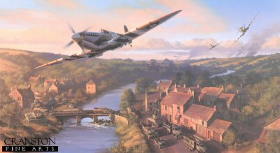 DHM2277B. Normandy Breakout by Nicolas Trudgian. <p> Spitfires of No. 132 Squadron rush towards the Front to give ground support to the advancing Allied forces following breakout from the Normandy beaches, June 1944. <br><br><b>Published in 2003. <br><br>Signed by eight highly decorated fighter pilots who flew combat missions on D-Day, 6 June 1944, and during the Battle for Normandy.</b><p><b> Less than 7 copies available of this sold out edition.  <b><p> Signed by Air Commodore John Ellacombe (deceased), <br>Wing Commander Tom Neil, <br>Flight Lieutenant Sir Archie Lamb, <br>Flying Officer Frank Wheeler (deceased), <br>Squadron Leader Pat Carden, <br>Commander Mike Crosley (deceased), <br>Wing Commander Jack Rose<br> and <br>Wing Commander George Unwin (deceased), in addition to the artist.  <p> D-Day Anniversary Edition.  Signed limited edition of 150 prints.<p>  Paper size 36 inches x 23 inches (91cm x 53cm)