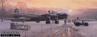 DHM2321. Those Golden Moments by Philip West. <p> As the sun slowly begins to rise this wintry morning over Thorpe Abbots, Norfolk, ground crew prepare B-17G The All American Girl in an almost surreal setting, for her 99th dangerous mission over enemy territory. On 10th January 1945, 19-year-old pilot, 1st Lt. John Dodrill and his crew went missing on a combat sortie to Cologne. Like many other crews, they made the ultimate sacrifice in the fight for freedom, with the Bloody Hundredth Bombardment Group playing its full part with courage and honour. <b><p> Signed limited edition of 350 prints. <p> Paper size 16 inches x 26 inches (41cm x 66cm)