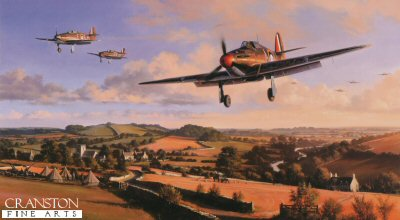 DHM2439.  Hurricane Heroes by Nicolas Trudgian. <p> Hurricanes of 87 Squadron return to their West Country base after repelling attacks by Luftwaffe bombers on nearby aircraft factories, August 1940. Flight Lieutenant Ian Gleeds Hurricane, in which he scored 20 victories, leads the Squadron pilots back to base to refuel, re-arm, and get airborne without delay. <br><br><b>Published 2000.<br><br>Signed by three famous Hurricane pilots who fought in the Battle of Britain.  These are three fantastic rare  signatures to have on one art print  and sadly all three have since passed away.</b><b><p> Signed by <a href=aviation_signatures.php?Signature=122>Wing Commander Roland Bee Beamont (deceased)</a>, <br><a href=aviation_signatures.php?Signature=123>Squadron Leader Laurence Thorogood DFC AE (deceased)</a> <br>and <br><a href=aviation_signatures.php?Signature=3>Group Captain Tom Dalton Morgan (deceased)</a>, in addition to the artist.  <p>  Signed limited edition of 500 prints. <p> Paper size 27 inches x 19 inches (69cm x 48cm)