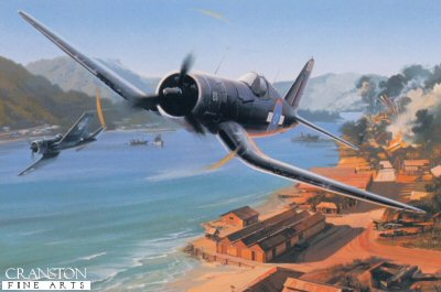 DHM2443. Kiwi Strike by Nicolas Trudgian. <p> A dramatic low-level attack on a Japanese base near Rabaul is in progress by F-4U Corsairs of 16 Squadron, RNZAF. Taking the lead is Bryan Cox, as the Corsairs leave a trail of smoke and debris in their wake. Water vapor is squeezed out of the humid atmosphere as Coxs wingman banks sharply to avoid groundfire. The Kiwi Corsairs buccaneered their way through the intensly fought campaigns in the Solomons and Guadalcanal.<b><p> Signed by Warrant Officer Bryan Cox, in addition to the artist.  <p> Signed limited edition of 800 prints. <p> Paper size 16 inches x 14 inches (41cm x 36cm)