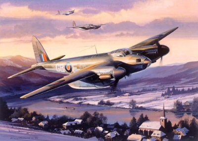 DHM2445B. Mosquitos Over the Rhine by Nicolas Trudgian. <p> Mosquitos from No 105 Squadron R.A.F. based at Marham, Norfolk, England, on a low-level intruder strike over the Rhine river, Germany in December 1942. <b><p>20 unmounted prints from the signed limited edition of 750 prints. <p>Image size only 5.5 inches x 4 inches (14cm x 10cm) - the smallest Nicolas Trudgian print available.