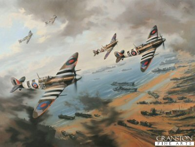 DHM2447. Normandy Fighter Sweep by Nicolas Trudgian <p> Johnnie Johnson leads his Canadian Wing Spitfires over the Normandy beaches on D-Day, 1944. <b><p> Signed by Air Vice-Marshall Johnnie Johnson (deceased).  <p>Johnnie Johnson signature part of the edition of 2500 prints. <p> Print size 16 inches x 13 inches (41cm x 33cm)