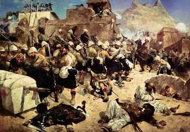 DHM245.  92nd Highlanders at the Battle of Kandahar by Caton Woodville. <p>The painting depicts the 92nd Highlanders (Gordon Highlanders) routing Ayub Khan tribesmen, on 31st August 1880, who had earlier on 26th July beaten the British at the battle of Maiwand and was now besieging the remainder of Primroses division in the citadel of Kandahar. Roberts with a force of 10,000 men (Gordon Highlanders, 60th Rifles, 72nd Highlanders, Sixth Gurka and Punjabi Infantry) marched out of Kabul to relieve Kandahar which was 300 miles away. The epic Battle of Kandahar made Roberts one of the great Victorian military heroes.<b><p>Open edition print. <p> Image size 30 inches x 19 inches (76cm x 48cm)