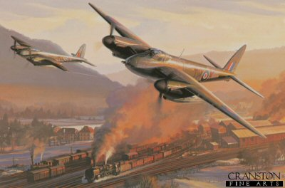 DHM2452B. Trainbusters by Nicolas Trudgian. <p> So versatile was the Mosquito that is performed in every role allotted to the R.A.F. and R.C.A.F. during World War II. Made almost entirely of wood, and powered by two hefty Merlin engines, it was the fastest piston engined aircraft of the war. Seen in its intruder configuration, Mosquitos of 418 Squadron, R.C.A.F. led by Charlie Krause, make a devastating high speed low-level attack on railroad marshalling yards in northern France during the winter of 1944. <b><p>Signed by Flight Lieutenant Charles A Krause,<br>Flight Lieutenant Ray Harington<br>and<br>Warrant Officer Bert Winwood (deceased). <p>Harington / Winwood Signature edition of 50 prints (Nos 251 - 300) from the signed limited edition of 800 prints. <p> Paper size 16 inches x 14 inches (41cm x 36cm)