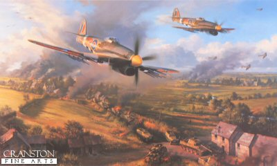 DHM2454B. Typhoons at Falaise by Nicolas Trudgian. <p> It is August 1944, barely two months since the Allies landed their first troops on the beaches of Normandy. Already the German Panzer Divisions are in full retreat, and it is critical to halt them before they can regroup. Caught in the Gap at Falaise, the battle was to be decisive. Flying throughout a continuous onslaught, rocket-firing Typhoons kept up their attacks on the trapped armoured divisions from dawn to dusk. The effect was devastating: at the end of the ten day battle the 100,000 strong German force was decimated. Typhoons of 198 Squadron RAF, deliver their deadly rocket and cannon fire, a tank column has been brought to a standstill, their reign of terror now almost at its end. <b><p> Signed by Flight Lieutenant Roy Crane, <br>Flight Lieutenant John Golley, <br>Flight Lieutenant Ron Grant, <br>Flight Lieutenant Derek Lovell <br>and <br>Squadron Leader H G Pat Pattison, in addition to the artist.  <p> Limited edition of 125 publishers proofs. <p> Paper size 33 inches x 24 inches (84cm x 61cm)