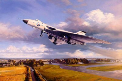 DHM2455.  Vulcan Thunder by Nicolas Trudgian. <p>An Avro Vulcan BMk2 of No. 617 (Dambuster) Squadron thunders into the air in a scene from the early 1960s. Painted in all-white anti-nuclear flash markings these Vulcans formed the mainstay of the R.A.F. nuclear strike force.<p><b>Last 20 copies available of this sold out edition.</b><b><p>Signed limited edition of 750 prints. <p>Paper size 27 inches x 20 inches (69cm x 51cm)