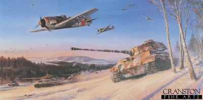 DHM2466. Ardennes Offensive by Nicolas Trudgian. <p> As 1944 drew to a close, Hitler made his final gamble of the war, mounting a massive strike force aimed at splitting the Allies forces advancing upon Germany.  His armour, supported from the air, would rip through the Ardennes to Antwerp, capture the Allied fuel supplies, and cut off all the opposing forces to the north.  Hitlers commanders were dubious of the outcome but nevertheless obeyed orders, and the operation was launched on 16th December.  Allied intelligence had discounted any German counter-offensive and the initial wave, comprising 8 Panzer divisions, took the Allied forces completely by surprise.  A parachute drop of English-speaking German soldiers in American uniforms behind the assault zone added to the confusion.  Advancing some 30 miles, and almost in sight of the River Meuse, by 26th December the SS Panzers had ground to a halt with empty fuel tanks, and were at the mercy of Allied counter-attacks.  By 16th January the German penetration was repulsed and Hitlers beloved Panzer units retreated in tatters.  The Fuhrers last gamble had failed.  Fw190s of JG1 provide close support to the 9th SS Panzer Division, as they spearhead Germanys final major offensive of World War II. Seen advancing on the 82nd Airborne Division, the King Tiger tanks, with the aid of Luftwaffe ground-attack fighters, drive the Americans back through the snowy fields of the Ardennes on Christmas Day, 1944. It was the last, short-lived and ultimately unsuccessful advance made by the German forces during World War II. <br><br><b>Published 2001.</b><p><b>Less than 20 copies available of this sold out edition.</b><b><p> Signed by <a href=signatures.php?Signature=241>Oberstleutnant Helmut Bennemann (deceased)</a>,<br><a href=signatures.php?Signature=876>Oberstleutnant Hans Lutz (deceased)</a>,<br><a href=signatures.php?Signature=874>Leutnant Siegfried Muller (deceased)</a><br>and<br><a href=signatures.php?Signature=875>Oberst Eberhard Stephan (deceased)</a>.  <p> Signed limited edition of 500 prints.  <p>Paper size 36 inches x 25 inches (91cm x 64cm)