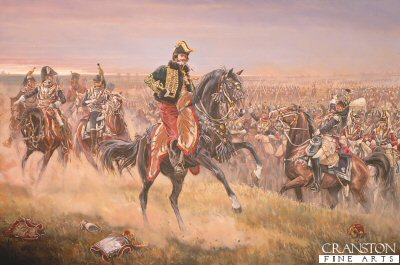 DHM249. La Salle at the Battle of Wagram by Mark Churms <p> Depicting General La Salle before his last charge before being killed at the Battle of Wagram. <b><p> Signed limited edition of 1000 prints. <p> Image size 15 inches x 23 inches (38cm x 58cm)