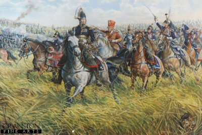 DHM250B. Marshal Ney at the Battle of Waterloo by Mark Churms. (B) <p> Marshal Ney charging at the head of the French cavalry against the British Squares. Of all Napoleons Generals at Waterloo none distinguished himself more than Marshal Ney, Prince of the Moskowa, the splendid warrior upon whom his Imperial master had conferred the proud title of Le Brave des Braves (The Bravest of the Brave) Twice he led the attack on the British centre, first at the head of the cavalry and then with the Old Guard, and he only retired from the field at nightfall, after five horses had been killed under him.<p><b>Very few left.</b> <b><p> Signed prints. <p>  Image size 23 inches x 14 inches (58cm x 36cm)