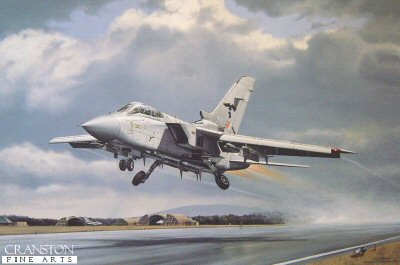 DHM2504.  Feriens Tego by Robert Tomlin. <p>25(F) Squadron of the Royal Air Force, based at Leeming in Yorkshire is one of the premier Defence squadrons.  Here, a Tornado F3 makes a dramatic dash for the air in response to a potential threat.  The title comes from their motto Striking I Defend.  The border contains printed remarques of the first and the latest fighters to serve with 25(F) Squadron, the autographed by Group Captain Phil Goodman, OC 25(F) Squadron. <p><b>Last 80 copies of this sold out edition. </b><b><p>Signed by Air Commodore Phil Goodman. <p>Signed limited edition of 500 prints.  <p>Image size 13 inches x 20 inches (33cm x 51cm)