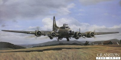 DHM2515.  A Green Hill Far Away by Robert Tomlin. <p>On the morning of October 14th 1943 along with 15 others from the 305th Bomb Group, Lazy Baby set off from Chelveston in England on Mission 115, the second Schweinfurt raid, later to become known as Black Thursday. By the time they reached Aachen on the outward leg only Lazy Baby and two others of the 305th were left flying, They were then seriously damaged and three crew severely injured whilst two bailed out. Diving from 23,000 ft to only 3,000 ft, pilot Ed Dienhart managed to escape the attacking fighters. With the ball turret gunner trapped and navigator seriously injured they proceeded at 30 to 50 feet, hedge-hopping all the way, to Switzerland and safety. Guided by the navigator Don Rowley who, despite having both arms virtually severed, managed to steer them from memory for over an hour to Switzerland where they made a dramatic crash landing only four miles from the German border. The navigator died the following day from his injuries. Whilst the pilot drew upon every ounce of his flying skills, the rest of the crew exhibited untold valour in the face of terrible adversity and selfless devotion to their stricken comrades.  This print is autographed by pilot Ed Dienhart and Swiss Schoolmaster Leo Thuring who helped to rescue the mortally wounded navigator. Accompanying the print is a 24 page illustrated book which charts the story from take off, through the landing, to the eventual escape of some of the crew back to England. An individual book plate is also signed by members of the crew, the author and relevant Swiss personalities providing not only a complete historical record of the heroism and valour of the crew, but a tribute to all who fought for the freedom which we now enjoy. <p><b>Supplied with a 28-page booklet about the incident depicted in the print and the crew of the aircraft.</b><b><p>Signed by ,<br>Lt Edward Dienhart,<br>S/Sgt Christy Zullo,<br>S/Sgt Robert Cinibulk,<br>Leo Thuring,<br>2nd Lt 
