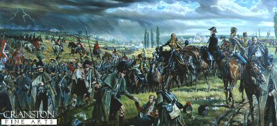 DHM253. Wellington Leaving Quatre Bras for Waterloo by Mark Churms. <p> Wellington watches as his army retires from the battle field area of Quatrebras <b><p> Open edition print.  <p>Image size 30 inches x 14 inches (76cm x 36cm)