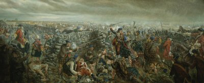 DHM254. Battle of Culloden by Mark Churms. <p> Icy rain adds its misery to the bitter conflict on Drumossie Moor. In the shadow of the Black Isle, two English ships on the waters of the Moray Firth, await the outcome of the decisive battle. Pounded by Cumberlands gunners and raked by steady musketry, the Princes brave men can make no headway. Although the Irish and French regulars refuse to give ground, the Jacobite lines gradually disintegrate. Tired, cold and hungry men flea past Culloden House for the relative safety of Inverness. On the Scottish right the Argyll Militia, supported by Hawleys Dragoons, tear down the walls of the Culwiniac and Culchunaig enclosures in an outflanking attack. Avochies men offer some resistance but Major Gillies McBean stands alone on the breach. He cuts down more than a dozen Argylls, including Lord Robert Kerr, who lies mortally wounded, but his foes are too many. The hero eventually falls to a vicious cut to the forehead, his thigh bone is also broken. Despite the cries of a mounted officer to save that brave man, the major is ruthlessly bayonetted, his back against the wall. The victory is complete and nothing more can be done. In the distance, the Young Pretender is forced to abandon the field and Scotlands hope of claiming the British Throne. <b><p> Open edition print.  <p>Image size 30 inches x 14 inches (76cm x 36cm)