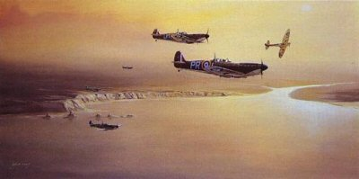 Southern Patrol : During the battle of Britain, 609 Squadron (PR) and 152 Squadron (UM) were pitting themselves against the Luftwaffe. 609 based at Middle Wallop near Andover and 152 operating from Warmwell were tasked with protecting part of 10 Groups Southern Sector.  These last few prints were personally signed by distinguished Battle of Britain ace Group Captain Sir Hugh Dundas CBE DSO DFC