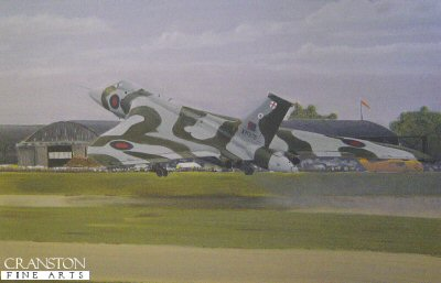 DHM2544.  Heyday by Steve Gibbs. <p>The retirement of the mighty Vulcan from the Royal Air Force with all its attendant publicity tends to make us forget the heady days when even the smaller At Home or Station Air Day could rely on the Vulcan as one of its star attractions. In this picture artist Steve Gibbs has tried to create something of that simple carnival atmosphere of the provincial show by showing the scene at an Open Day at RAF Swinderby in Lincolnshire during the early 1980s. Avro Vulcan B2 XM575 does a dramatic touch-and-go in front of the distinctive hangers of the well-known former airfield. As the pilot applies full power, the smoke from the Olympus engines begins to build as the magnificent delta thunders into the air to demonstrate its astounding agility to a totally enthralled crowd of onlookers. <b><p> Signed limited edition of 1000 prints. <p>Overall size 20 inches x 16 inches (51cm x 41cm)  Image size 16 inches x 11 inches (41cm x 28cm)