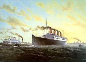 RMS Acquitania (1914) Leaving the Mersey by E. D. Walker.