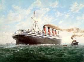 RMS Mauretania (1907) off Point Lynas by E. D. Walker.