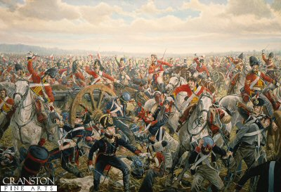 DHM258. Charge of the Union Brigade by Mark Churms. <p> At about 2.00pm the Union Brigade crashes through the ranks on Napoleons Ist Infantry Corps. The 2nd Royal North British Dragoons (later known as The Scots Greys) on the far left of the line, plow through Marcognets division, only Duruttes division will escape intact. With Brigade General Ponsortby at their head, elements of the now disordered Cavalry charge on to the French artillery.  Even though, at close quarters, the Gunners and attached Infantry are no match for the wild Scots, they desperately try to save their 12 pounder field pieces. However the British heavy Cavalry is now out of control and Napoleons retribution will be swift.  From the undulating ground before Paillotte comes the thunder of hooves and the deadly lances of 4th Regiment and the 3th Chasseurs a Cheval. In the confusion many of the British soldiers are completely unaware of the onslaught as the fresh French Cavalry sweeps through their flank.  Ponsonbys mount leaps through the mud as the exhausted Brigade is herded together for the final kill.  Even against all odds the brave men continue to fight. The Brigade General himself will shortly be sabred by Sergeant Urban as he attempts to capture the eagle of the 4th Lancers.<b><p> Signed limited edition of 1000 prints.  <p>Image size 15 inches x 24 inches (38cm x 61cm)