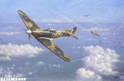DHM264. Spitfire Tally-Ho by Geoff Lea. <p> Depicting Spitfire of 609 squadron during the Battle of Britain. <b><p> Open edition print.  <p>Image size 16 inches x 10 inches (41cm x 25cm)