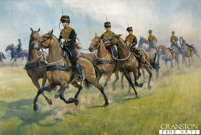 DHM271. Roller Coaster, Kings Troop R.H.A Number 1 dress. by Mark Churms. <p>The Kings Troop shown in full ceremonial uniform in Hyde Park preparing for a full gun salute.<b><p> Signed limited edition of 1000 prints. <p>Image size 16 inches x 12 inches (41cm x 31cm)